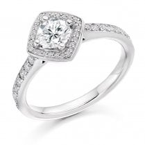 0.50ct. Brilliant Cut Diamond Halo Cluster Ring