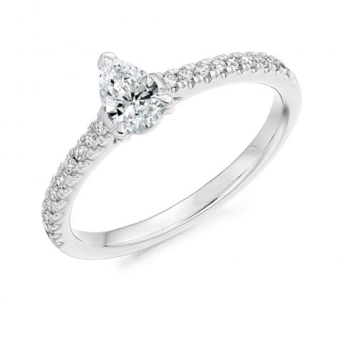0.53ct. Pear Shaped Diamond Ring with Diamond Set Shoulders