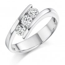 0.55ct. Three Stone Diamond Twist Ring