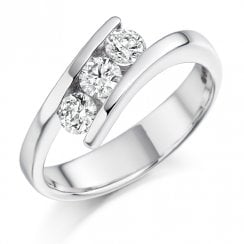 0.55ct. Three Stone Diamond Twist Ring