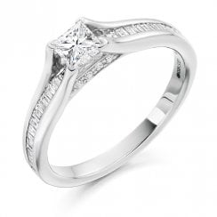 0.73ct. Princess Cut Diamond Ring with Diamond Set Shoulders