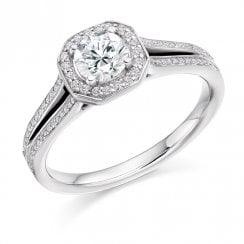0.75ct. Diamond Halo Split Shoulder Ring