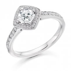 0.85ct. Brilliant Cut Diamond Halo Cluster Ring
