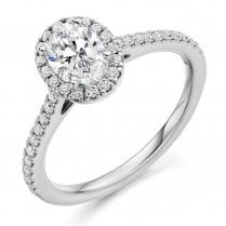 0.85ct. Oval Diamond Halo Cluster Ring
