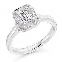 0.90ct. Emerald Cut Diamond Halo Cluster Ring