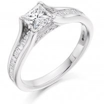 0.90ct. Princess Cut Diamond Ring with Diamond Set Shoulders