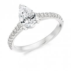 1.00ct. Pear Shaped Diamond Ring with Diamond Set Shoulders