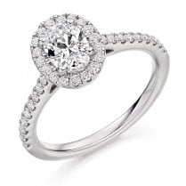 1.05ct. Oval Diamond Halo Cluster Ring