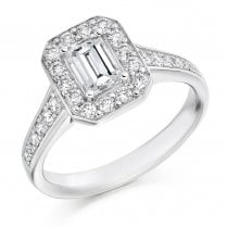 1.10ct Emerald Cut Diamond Halo Cluster Ring
