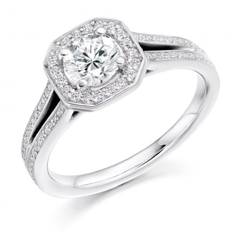 1.15ct. Diamond Halo Split Shoulder Ring