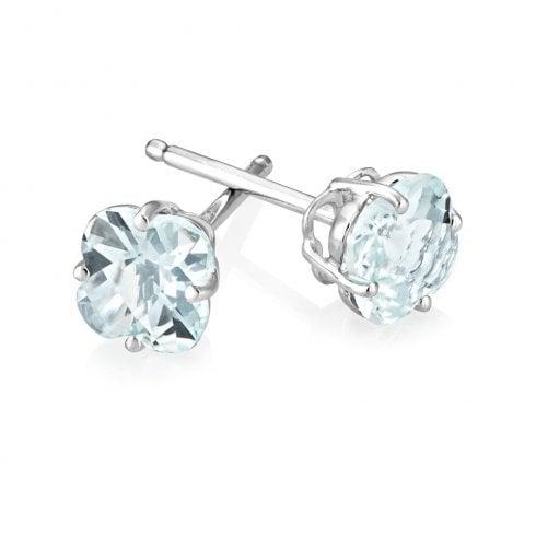 18 White Gold Aquamarine Stud Earrings