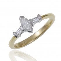 18ct 0.45ct. G/VVS1 Marquise And Baguette Cut Diamond Ring