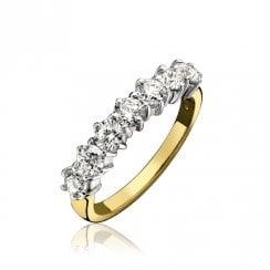 18ct And Diamond Half Eternity Ring