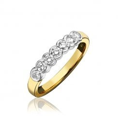 18ct And Diamond Rubover Half Eternity Ring