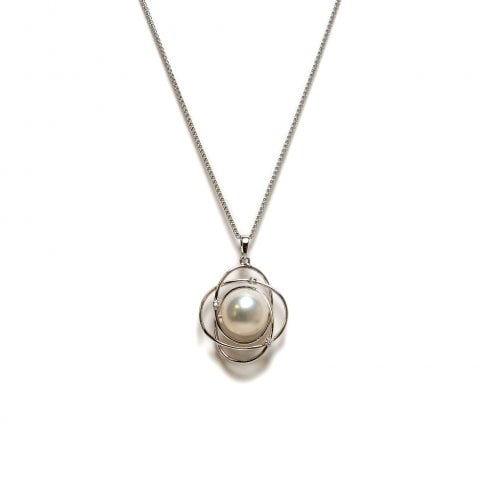 18ct Freshwater Cultured Pearl & Diamond Swirl Pendant