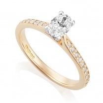 18ct Rose Gold 0.59ct Oval Diamond Ring