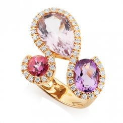 18ct Rose Gold Amethyst, Pink Topaz & Diamond Cluster Ring