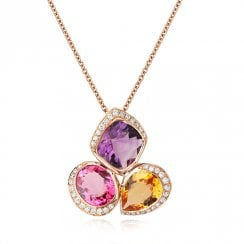 18ct Rose Gold Amethyst, Tourmaline, Citrine & Diamond Pendant