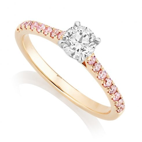 18ct Rose Gold Diamond Ring with Natural Pink Diamond Shoulders