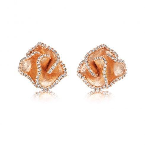 18ct Rose Gold Diamond Ruffle Earrings