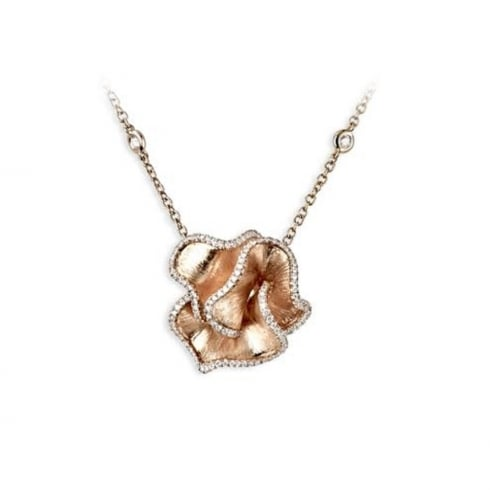 18ct Rose Gold Diamond Ruffle Pendant
