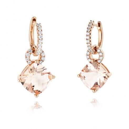 18ct Rose Gold Morganite & Diamond Drop Earrings