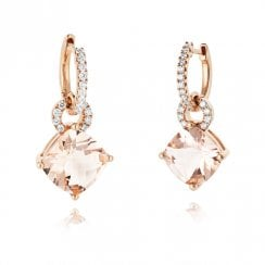 18ct Rose Gold Morganite & Diamond Drop Earrings