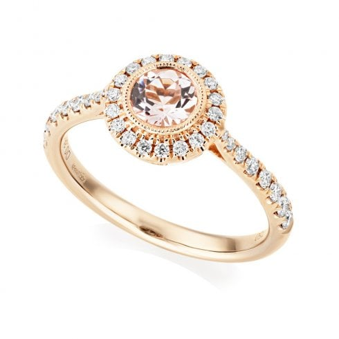18ct Rose Gold Morganite & Diamond Halo Cluster Ring