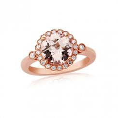 18ct Rose Gold Morganite & Diamond Ring