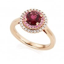 18ct Rose Gold Rubellite, Pink Sapphire & Diamond Cluster Ring.