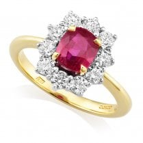 18ct. Ruby & Diamond Cluster Ring