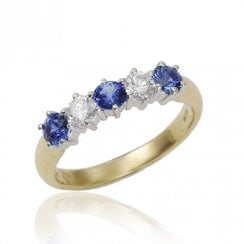 18ct Sapphire And Diamond Half Eternity Ring