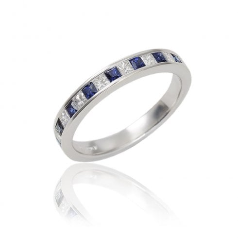 18ct Sapphire And Diamond Half Eternity Ring