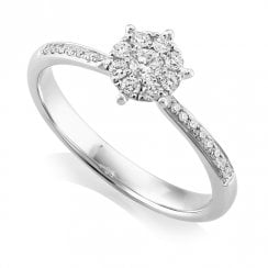 18ct White Gold 0.25ct. Diamond Cluster Ring