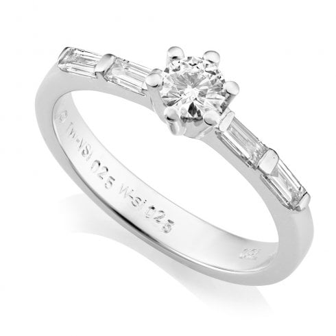 18ct White Gold 0.50ct. Brilliant & Baguette Cut Diamond Ring