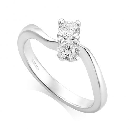 18ct White Gold 0.50ct. G/VS1 Two Stone Diamond Twist Ring