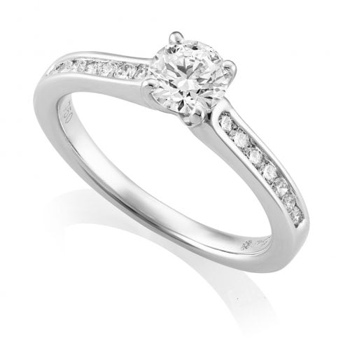 18ct White Gold 0.72ct. G/SI1 Shoulder Set Diamond Ring