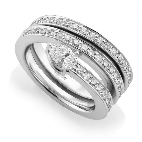 18ct White Gold 1.07ct. Triple Row Diamond Ring