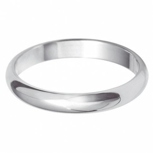 18ct White Gold 3.0mm D-shaped Profile Wedding Ring