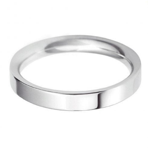 18ct White Gold 3.0mm Flat Court Profile Wedding Ring