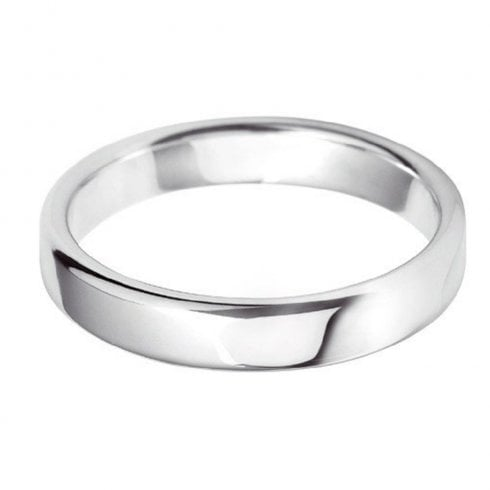 18ct White Gold 4.0mm Court Profile Wedding Ring