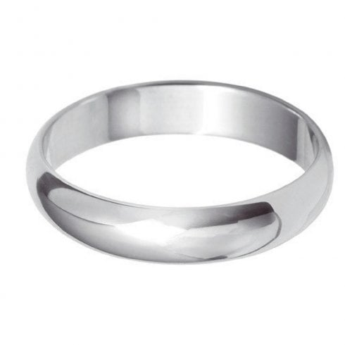 18ct White Gold 4.0mm D-shaped Profile Wedding Ring