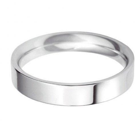 18ct White Gold 4.0mm Flat Court Profile Wedding Ring