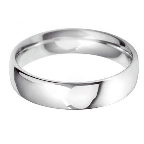 18ct White Gold 5.0mm Court Profile Wedding Ring