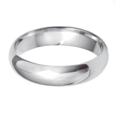 18ct White Gold 5.0mm D-shaped Profile Wedding Ring