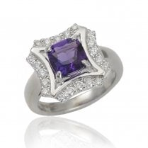 18ct White Gold Amethyst And Diamond Cluster Ring