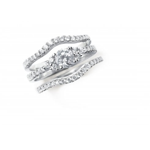 18ct White Gold And Diamond Gentle Curve Wedding Ring