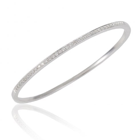 18ct White Gold And Diamond Hinged Bangle
