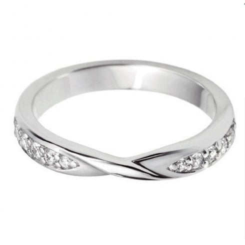 18ct White Gold And Diamond Ribbon Twist Wedding Ring