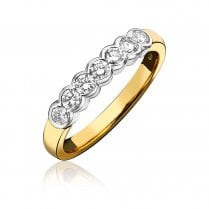 18ct White Gold And Diamond Rubover Half Eternity Ring
